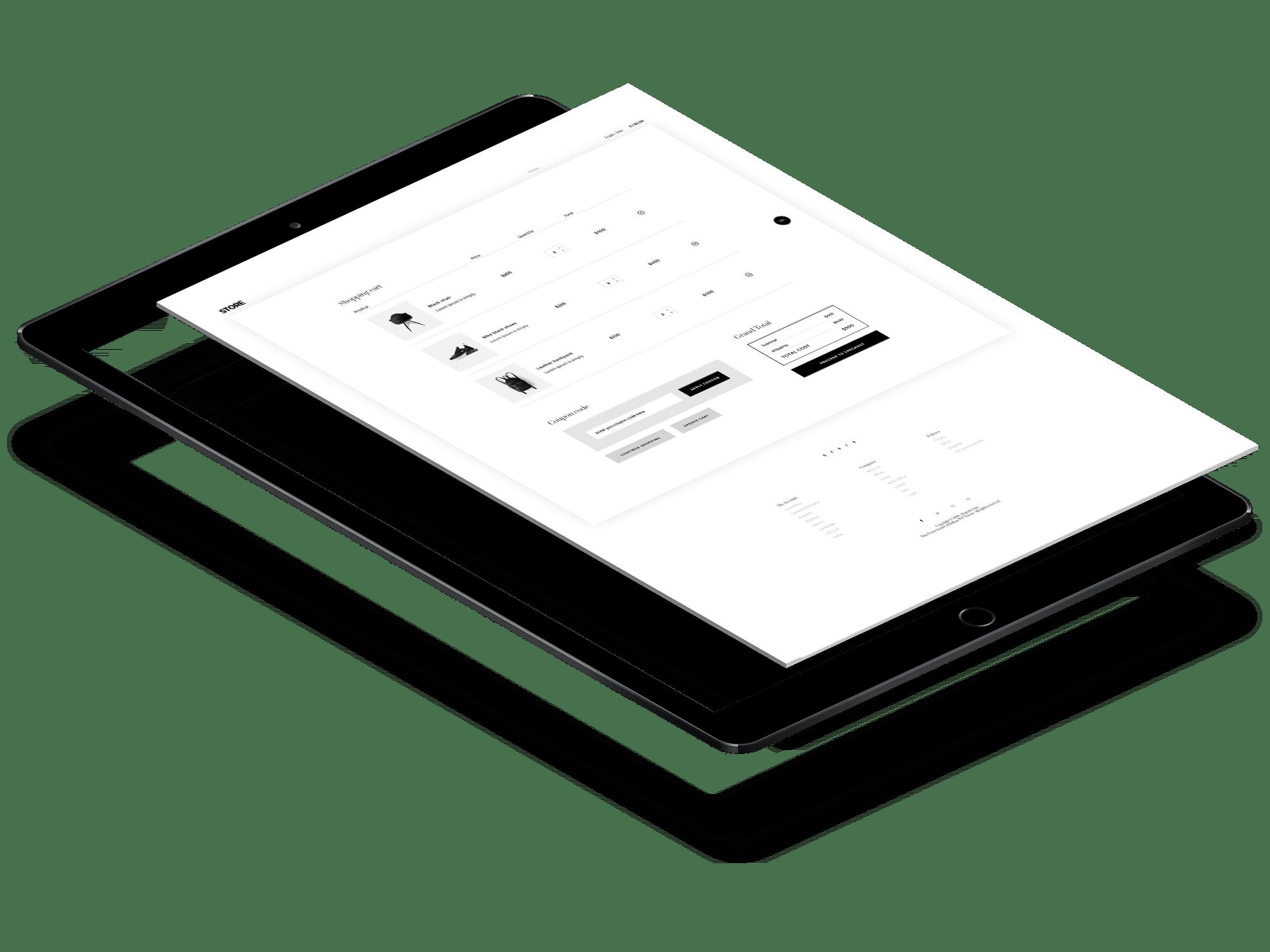 visuel d'une tablette avec e-commerce